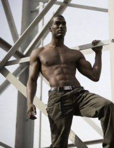 Black Male Model and Actor Bobby Roache Shirtless